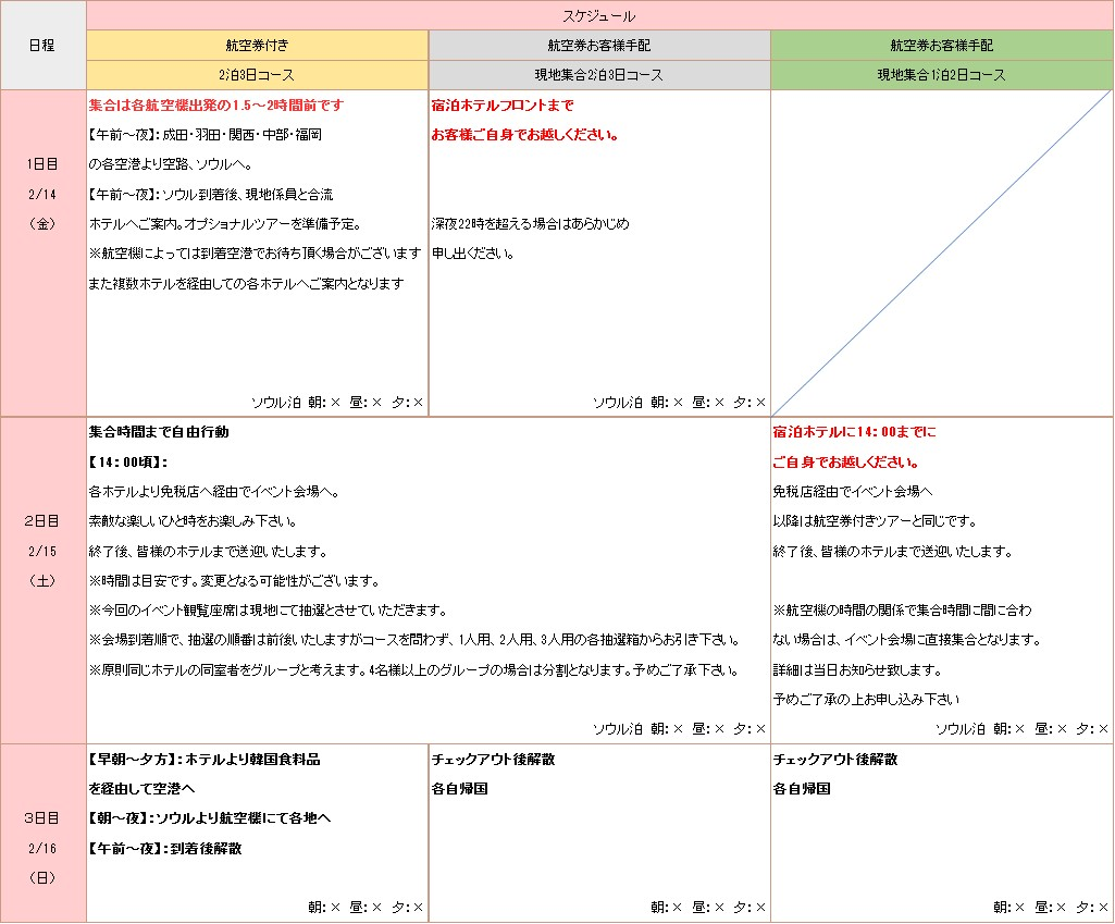 ソ・ガンジュンイベントの日程表